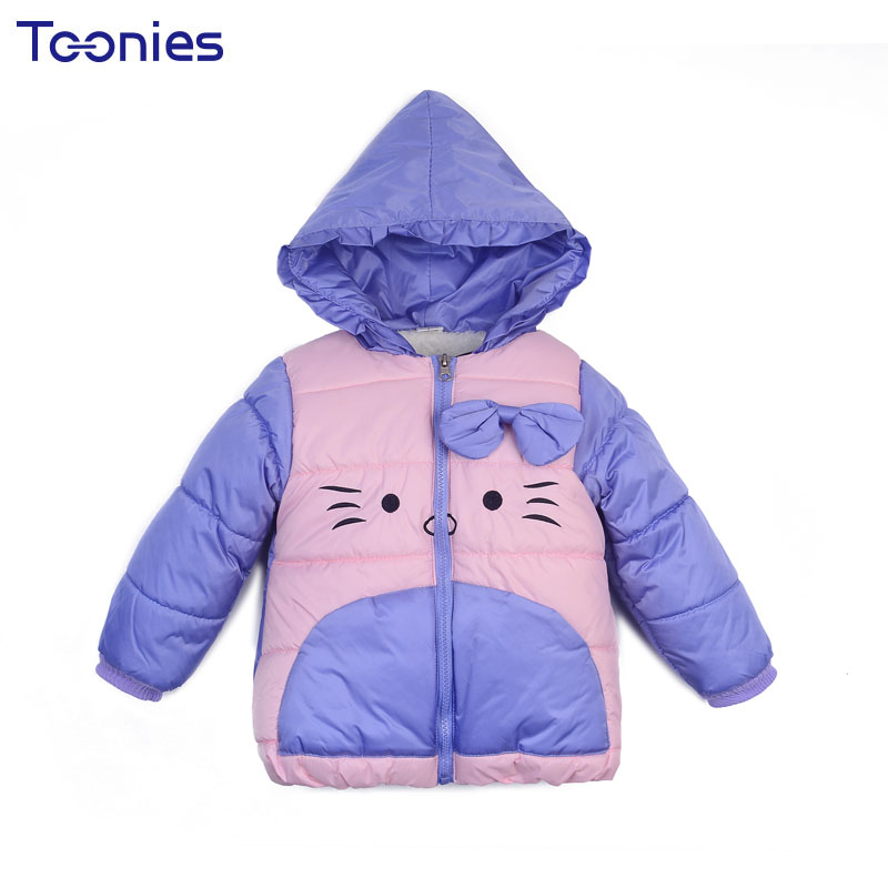 Baby Girls Coat Winter Kids Down Coats Children Thick Cotton Hoody Clothing Warm Girl Jacket Cartoon Print Bow Jackets for Child baby girls parkas 2017 winter thick outerwear casual coats children clothing kids clothes solid thicken cotton padded warm coat
