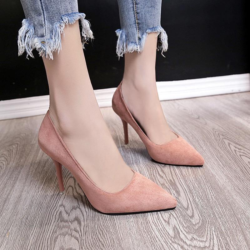 Lady Chaussures Carrière Classique De Pointu Talons Mode Daim Femelle Femmes gris Mince Bureau Professionnel Profonde En noir Haute Pompes rose Peu Bout Beige qO4EAvw