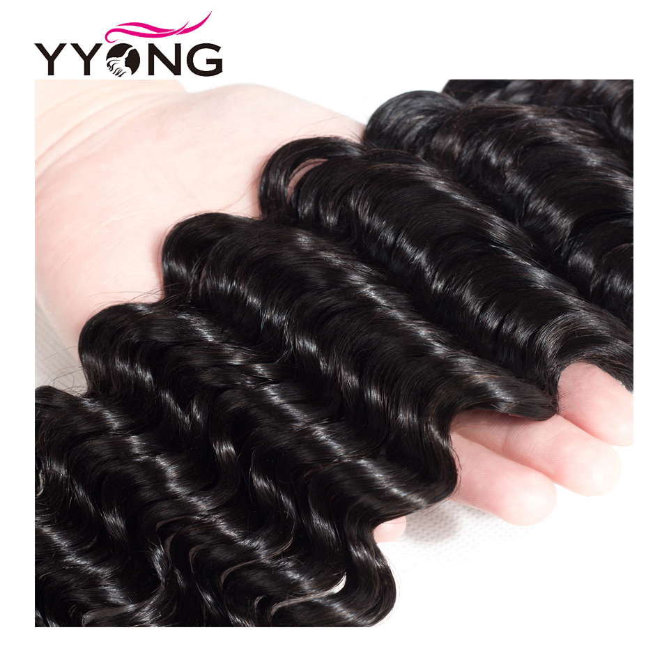 Yyong Hair 3 Bundle Deals Brazilian Deep Wave Hair Extensions 8-26 Inch Can Be Dyed 100% Remy Human Hair Weave Natural Color