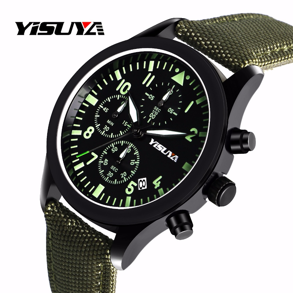 YISUYA Chronograph Nylon Strap Day Date Wristwatch Cool Army Casual Pilot Modern Watches Sport Analog Men Military Relogio Gift