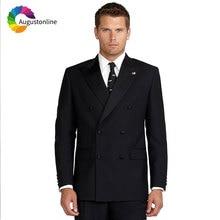 Double Breasted Black Men Suits for Wedding Suit Pants Peaked Lapel 2Pieces Slim Fit Best Man Blazers Jacket Custom Made Ternos
