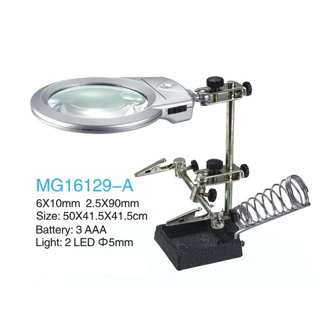 ФОТО 2x 6x Hands Free Original Desktop Helping Hand Loupe Dual-Use LED Light Magnifier w/ Auxiliary Clip Soldering Station MG16129-A