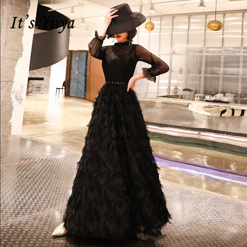 It's YiiYa   Evening     Dress   Black Dot Pattern Tassel Special Design Formal   Dresses   Velour Fake 2 Pieces Long Party Gown E023