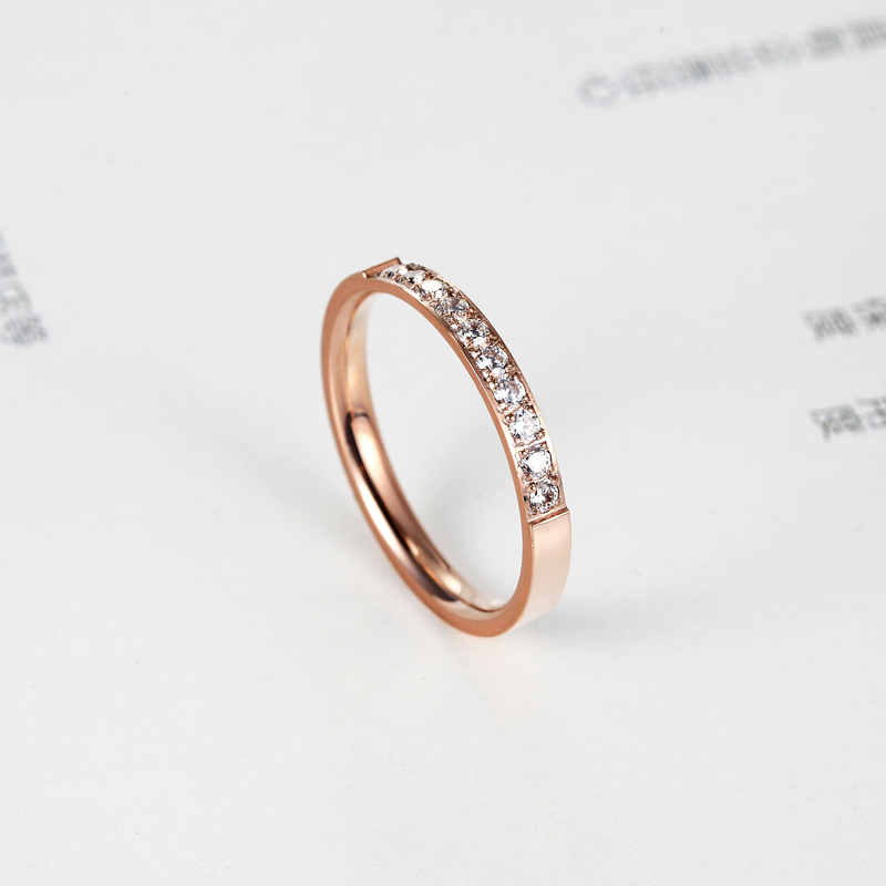 Top Quality Fashion Jewelry Crystal Wedding Rings Stainless Steel Rose Gold Color Female Ring For Woman And Girl Best Gift 4