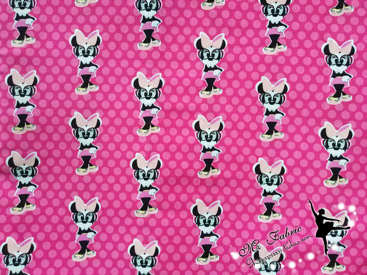 100X110cm Cartoon Minnie Mouse Polka Dots Hot Pink Cotton Fabric for Girl Clothes Cushion Cover Hometextile Bedding DIY-BK107