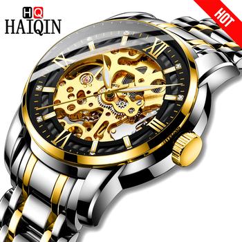 HAIQIN męskie zegarki sportowe automatyczny mechaniczne mliltary watch mężczyźni zegarki męskie zegarki top marka luksusowe relogio mecanico tanie i dobre opinie Składane zapięcie z bezpieczeństwem 3Bar 25cm Biznes Stop Mechaniczna Ręka Wiatr Automatyczne self-wiatr 12MM Okrągły