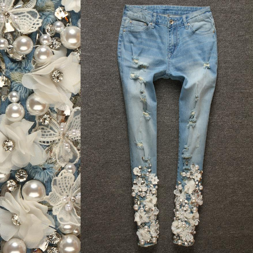 Brand new 3d White Flower Embroidery women Pencil Pants jeans 2018 spring fashion high quality diamonds female trousres gx591 wmwmnu flower embroidery jeans female light blue casual pants capris 2017 spring new pockets straight jeans women bottom f180