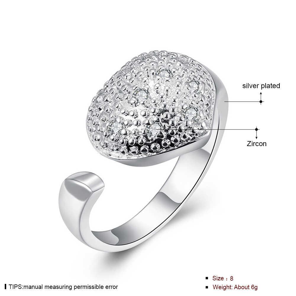 Coração aberto Anel de Zircão 925 Prata Esterlina Anéis Para As Mulheres jóias Anel Aneis Bague Anillos mujer Anillo Anelli M73