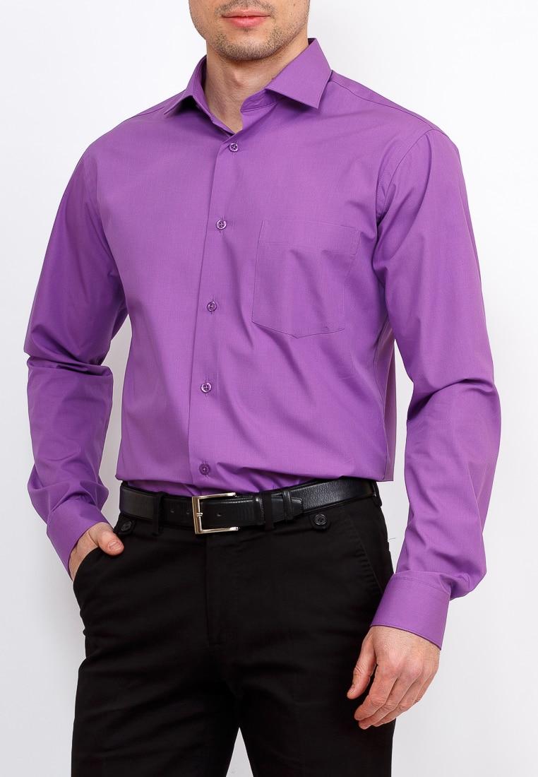 Shirt men's long sleeve GREG 730/139/VI/Z Purple purple v neck long sleeves loose plunge t shirt dress