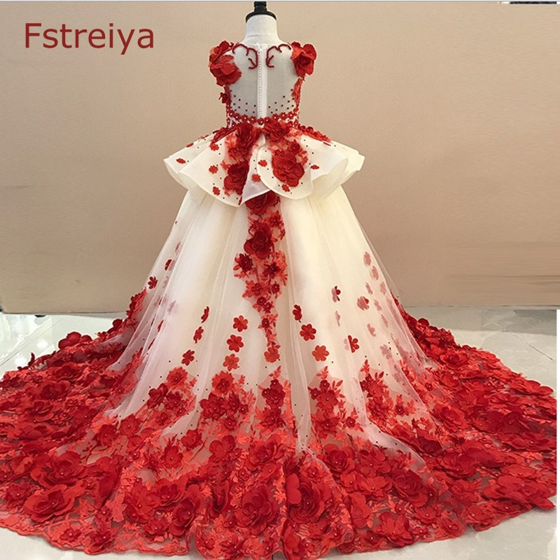 Custom made baby girls princess red dress for wedding 2018 kids party dresses for girls Floral christmas dress toddler costumeCustom made baby girls princess red dress for wedding 2018 kids party dresses for girls Floral christmas dress toddler costume