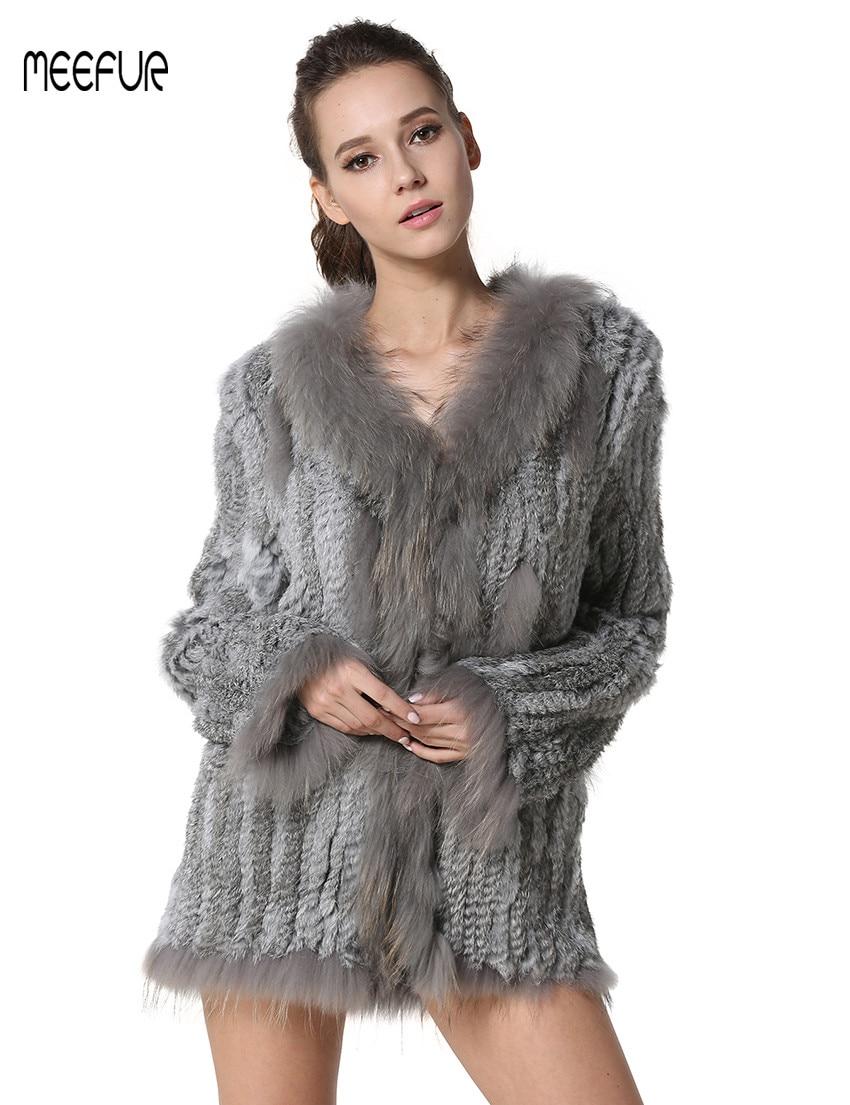 MEEFUR Abrigos de piel de conejo de punto real para mujer con abrigo - Ropa de mujer