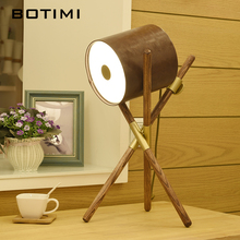 BOTIMI Creative LED Table Lamp With Leather Lampshade For Living Room Wooden Bedside Lighting Drum Decor Bedroom Luminaria