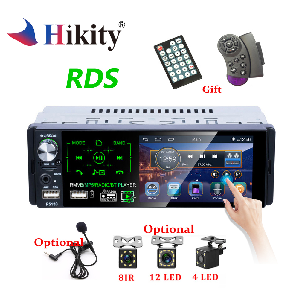 "Hikity Autoradio1 din Car Radio 4.1"" Inch Touch Screen Car Stereo Multimedia MP5 Player Bluetooth RDS Dual USB Support Micphone(China)"