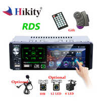 Hikity Autoradio1 din Car Radio 4.1 Inch Touch Screen Car Stereo Multimedia MP5 Player Bluetooth RDS Dual USB Support Micphone