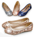 Hot sale Sequins women's flats round toe high quality woman flat shoes casual flat heel loafers big size EU34-41WSH566