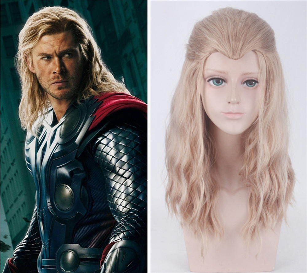 Blonde Brown Mix Curly Long Beauty Tip Widow's Peak Synthetic Hair Cosplay Wigs The Avengers Thor Odinson Purim Carnival Props(China)