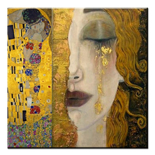 Pure Handpainted Large Canvas painting golden tears Gustav Klimt Reproduction oil Cuardros decoracion beautiful woman artwork