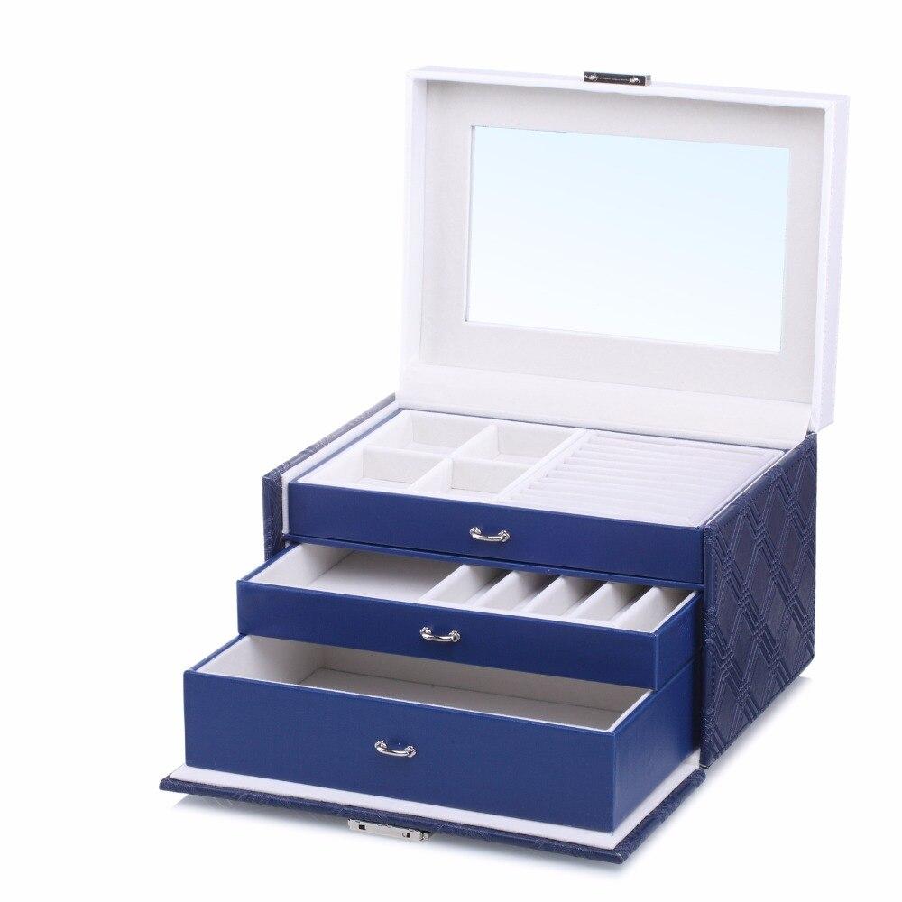 Blue Large Jewellery Storage Box W Key PU Leather Jewellery Packaging Earings Boxes Bracelets 2 Drawers