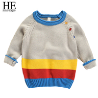 HE Hello Enjoy Boys Pullover Sweater Kids Autumn Winter Sweater 2017 Long Sleeve Tiny Cottons Color