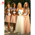 2017 Sparkly Blush Pink Sequins Bridesmaid Dresses Cheap Short Sleeves Plus Size Junior Two Pieces Wedding Guest Prom Gowns