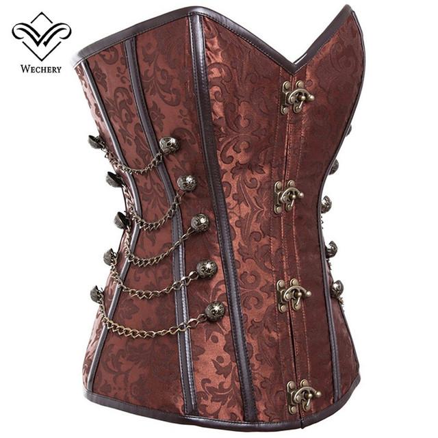 Wechery ramillete steampunk corsé gótico mujeres de corsé corsé de acero del hueso corsés y bustiers delgado tallas busiter s-6xl