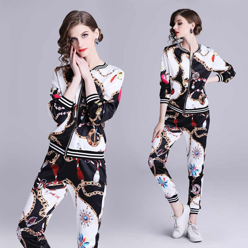 New Arrive Women Suit Spring Fashion Two Piece Set Print Sweatershirt Tops And Trousers Sets Causal Zipper Female Tracksuits