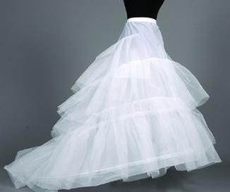 Fashion High quality Romantic White Hoop 3 Layers Skirt Crinoline Petticoat Underskirt Slips Wedding Gown Train Free shipping