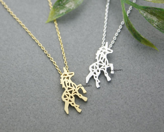 Beautiful Unicorn Necklace in silver gold