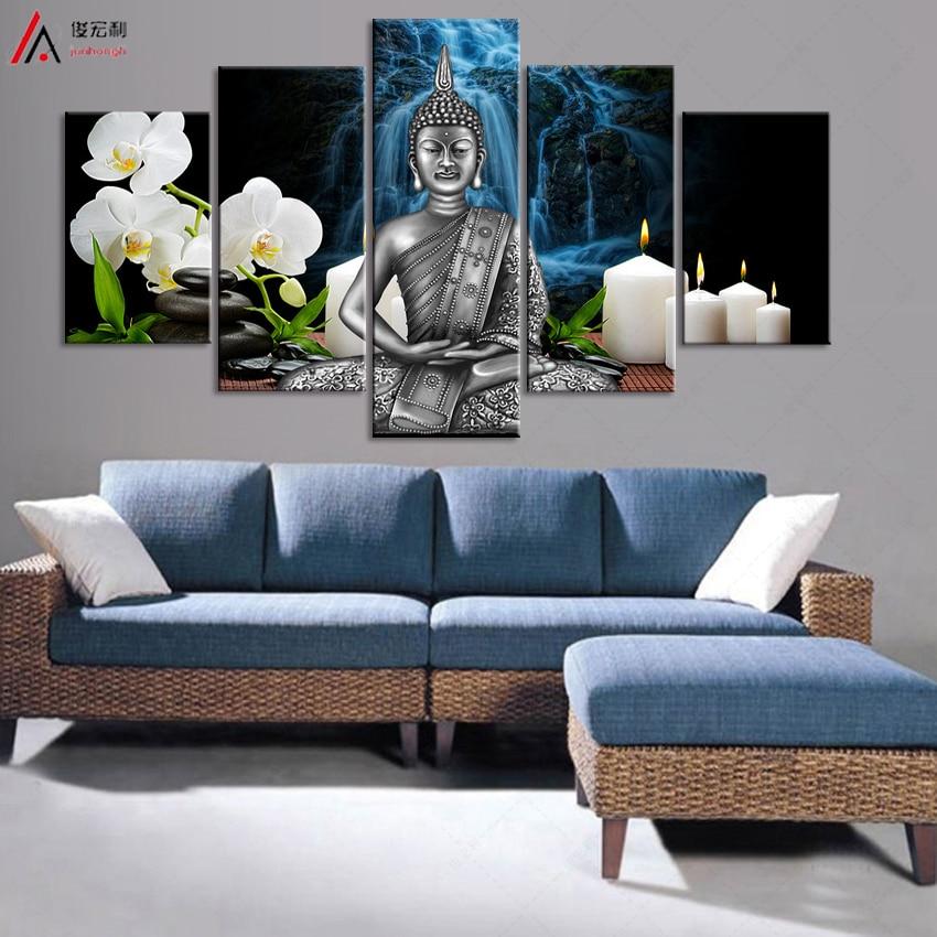 5 Unframed Beautiful Buddha Buddhism Painting Modern Art Cuadros Home Decor Wall Art on Canvas Print Living Room