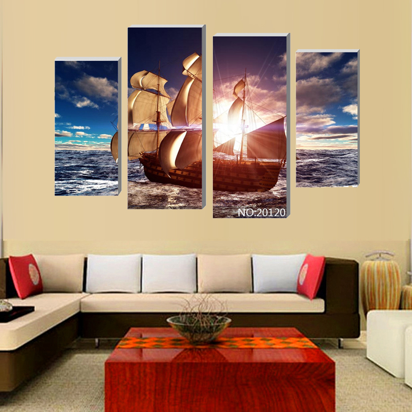 4 Pcs sea sailboat Modular pictures Modern Home Decoration Living Room or Bedroom Canvas Printing Photos Art Picture