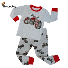 TINOLULING 2-8 years children sleepwear kids cars pajamas boys motorcycle styling pyjamas 100% cotton pijamas baby nightwear