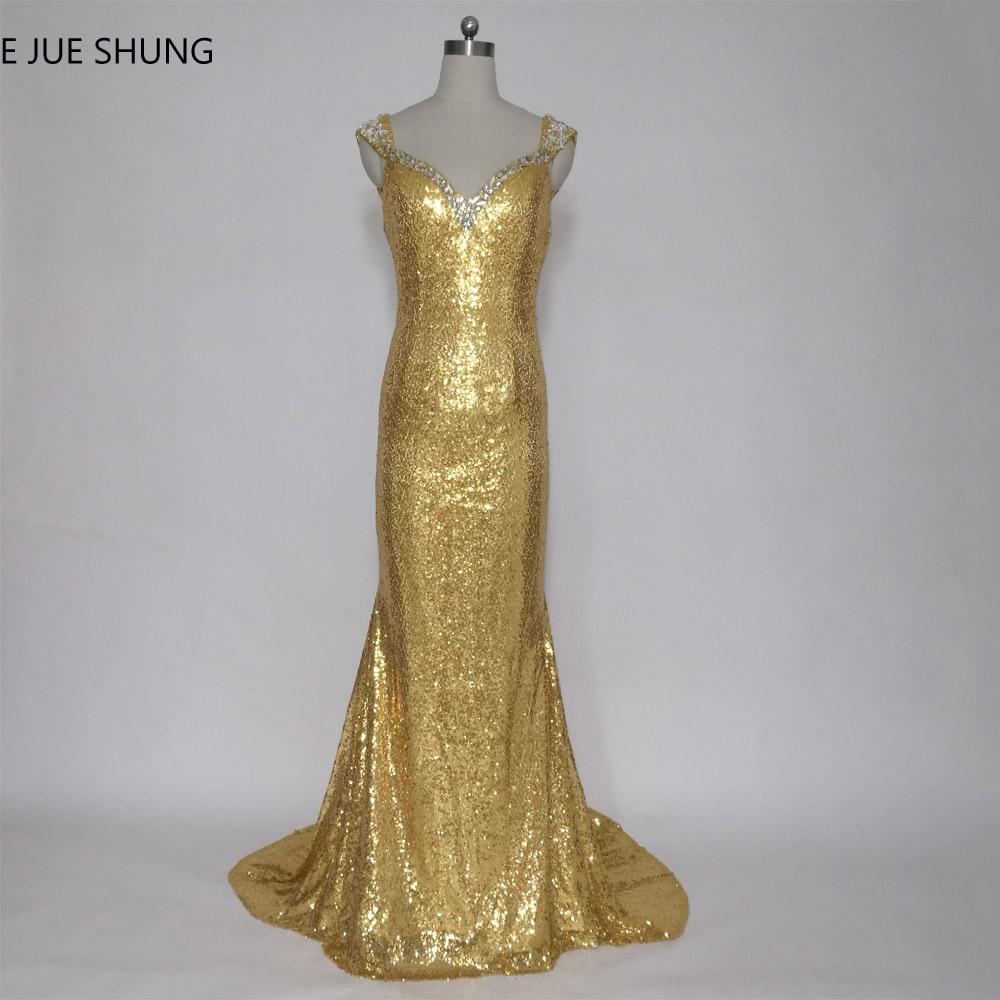 E JUE SHUNG robe de soiree Guld Sequin Mermaid Evening Dresses Långa Sheer Back Cap Sleeves Formella Klänningar Abendkleider