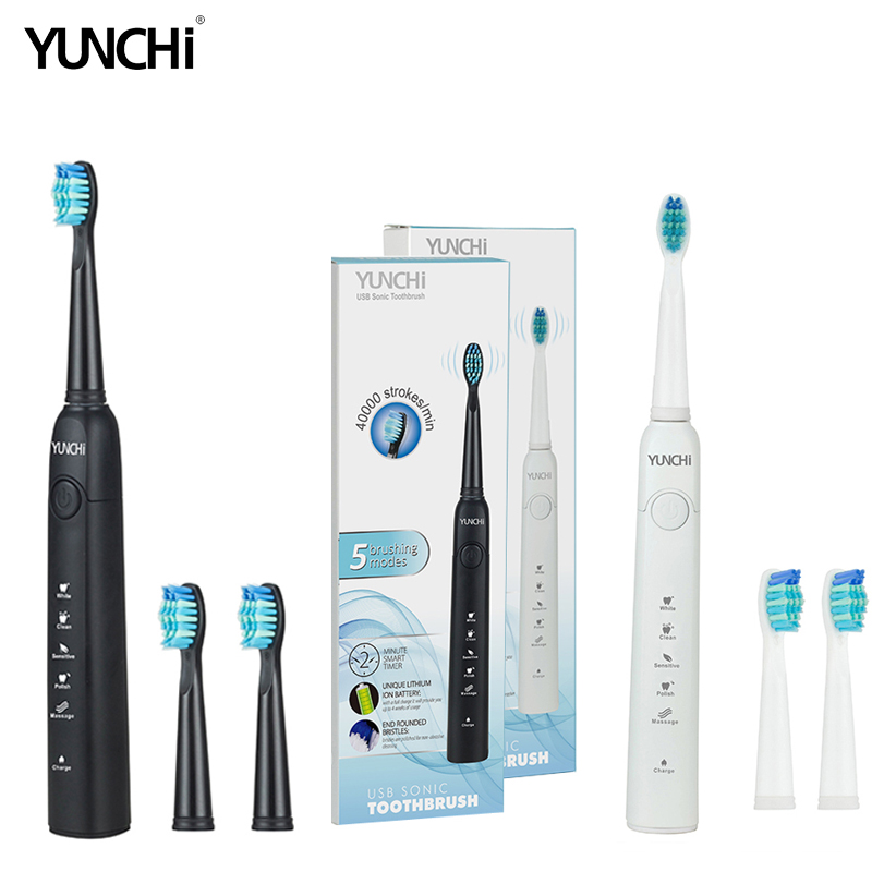 Yunchi Electric Toothbrush  Ultrasonic Replaceable Brush Heads USB Rechargeable Whitening Teeth Brush Heads
