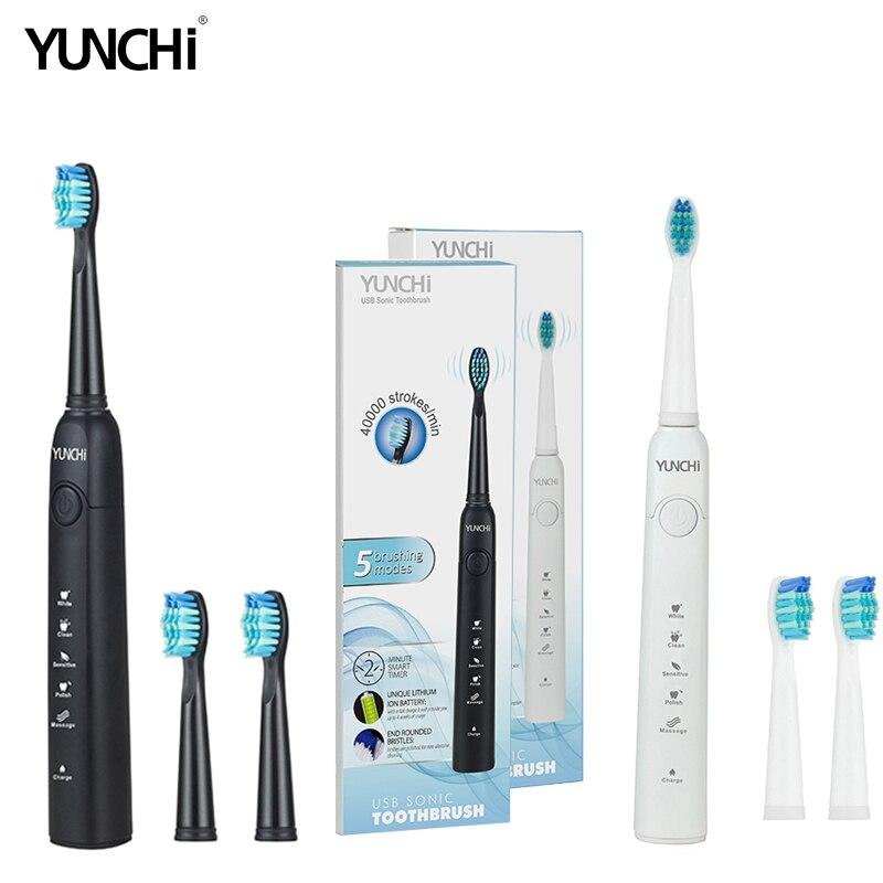 Yunchi Elektrische Zahnbürste Ultraschall Austauschbare Pinsel Köpfe USB Aufladbare Bleaching Zähne Pinsel Köpfe