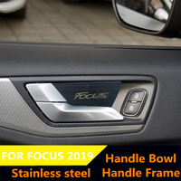 Inner Door handel Bowl and Door handle frame Stainless Steel Stickers Sequin Cover For Ford 2019 Focus 4 MK4 accessies