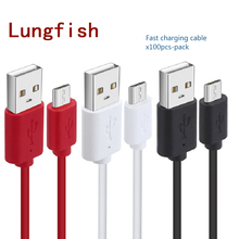 Lungfish Micro USB 2.0 Cable 100pcs-Pack Charge Sync Data Cable Cord For Android Phone 0.3m 1m 1.5m for Sumsung Huawei Xiaomi
