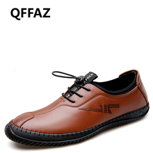 QFFAZ New Spring Fashion Breathable Men Shoes Genuine Leather Soft Casual Breathable Men's Flats Slip On Shoes Men's loafers