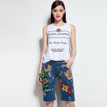 women summer suits white t-shirt and knee length two piece suits 2017 new brand runway sleeveless shirt cotton jean pants