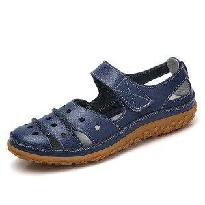 Image 3 - Sandalias de mujer 2019, novedad de verano, zapatos de cuero hechos a mano para mujer, sandalias de cuero, Sandalias planas para mujer, zapatos de Madre de estilo Retro