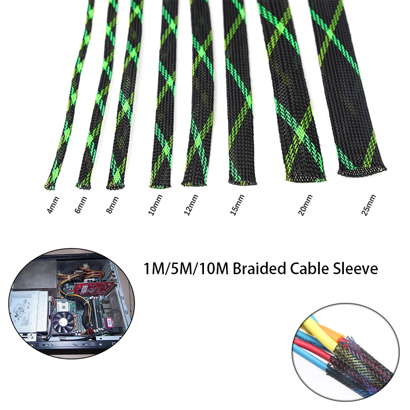 1M/5M/10M Braided Sleeving 2mm Tight PET Expandable Cable Sleeve Insulation High Density Sheathing Wire Gland Cables Protection