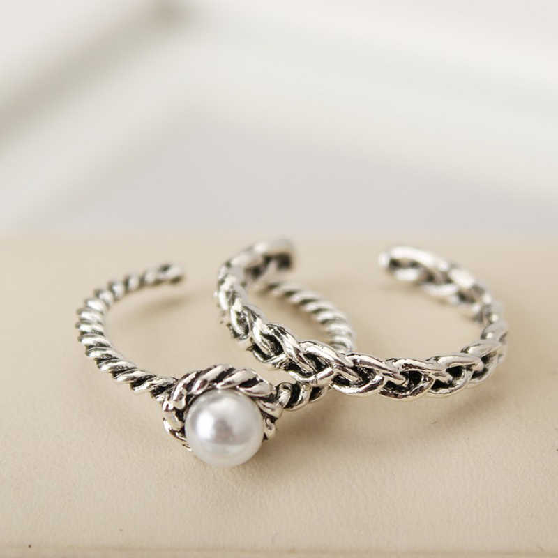 CUTEECO Vintage Rings Poetic Droplet white pearl Finger Ring Bridal Sets for Women Jewelry Wedding Accessorie