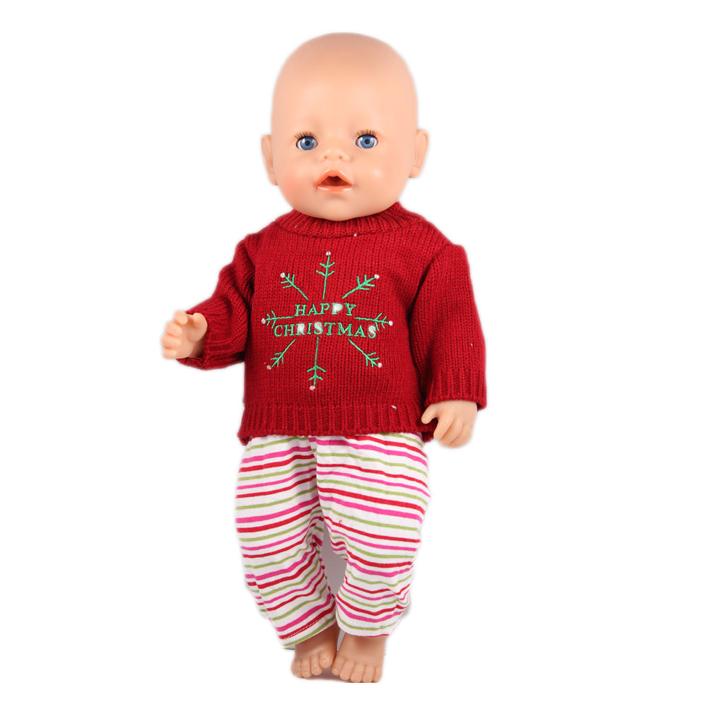 Christmas sweaters+Pant doll clothes Wear fit 43cm Baby Born zapf ,18 American Girl Doll Clothes , Children best Birthday Gift princess dress for 18 inches american girl baby born doll 2017 new fashion bjd accessories clothes toy children christmas gift