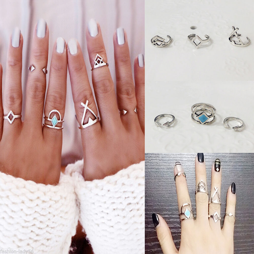 6 pcs/set Bohemian Antique Silver Color Stone Geometric Rings Hollow Rhombus Triangle Midi Finger Arrow Knuckle Rings For Women
