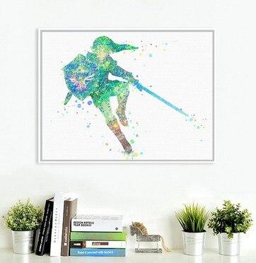 ორიგინალური აკვარელი Zelda იაპონური თამაშის პლაკატი ბეჭდვა რეზიუმე სურათი საბავშვო ოთახი კედლის ხელოვნება შ.პ.ს. ტილო ფერწერა არ ჩარჩო საჩუქრები