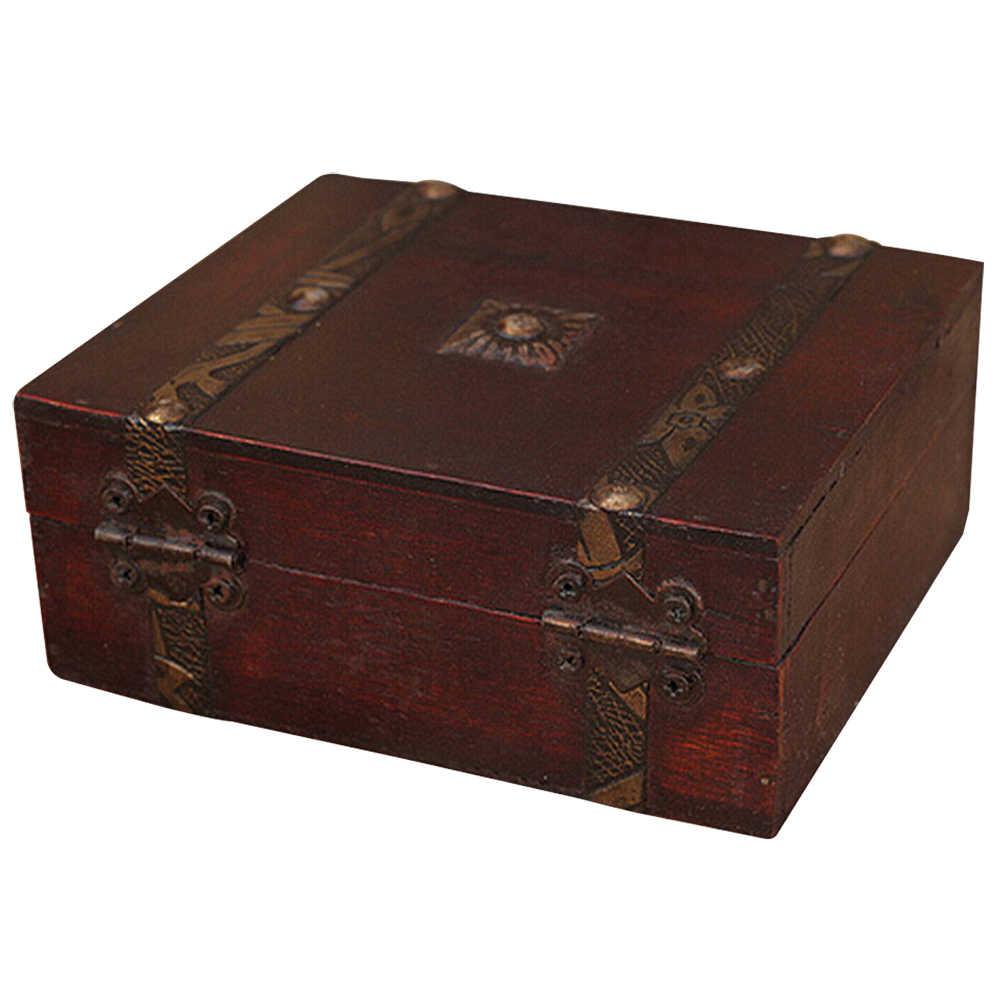 صندوق تخزين المجوهرات بقفل خشبي عتيق من NOCM صندوق حفظ المجوهرات هدية خاتم منظم