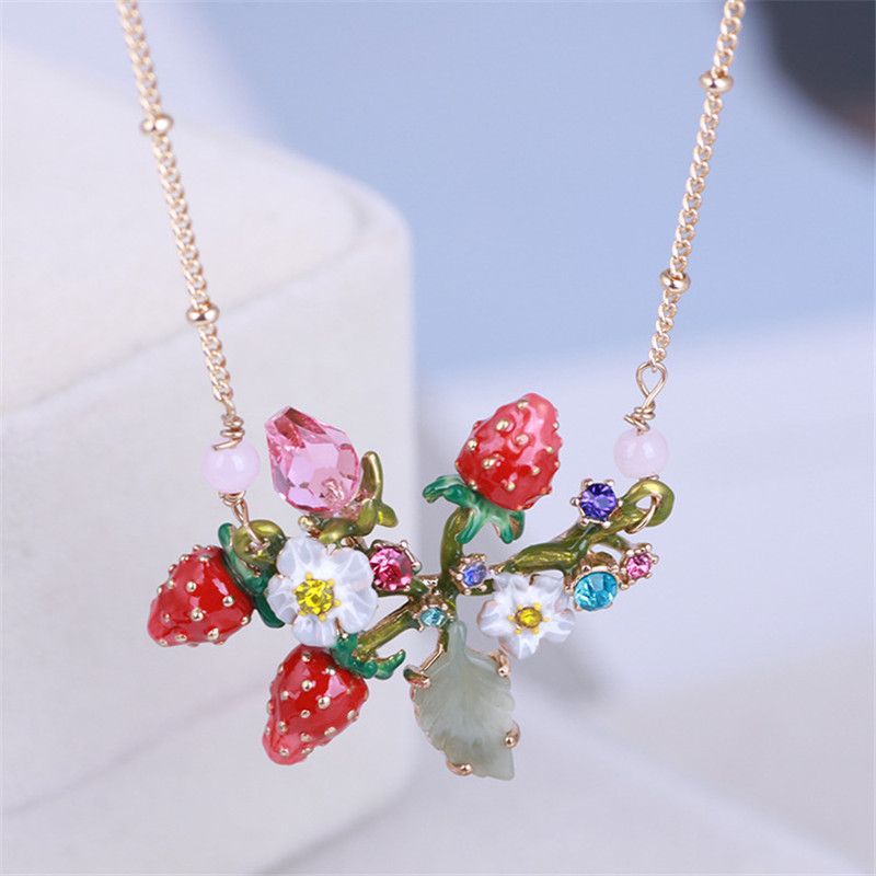 Warmhome Trendy Jewelry Enamel Glaze Copper Cute Strawberry Flower Gem For Women Necklace цена