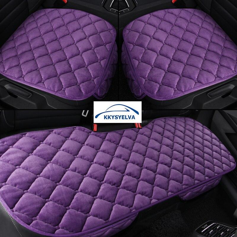 KKYSYELVA Car Seat Cover Cushion Set Universal Velvet Vehicles Seat Pad Protector Driving Cushion Car-styling Accessories
