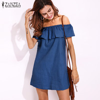 2017 ZANZEA Women Denim Blue Ruffled Sleeve Slash Neck Off Shoulder Summer Brief Solid Casual Party