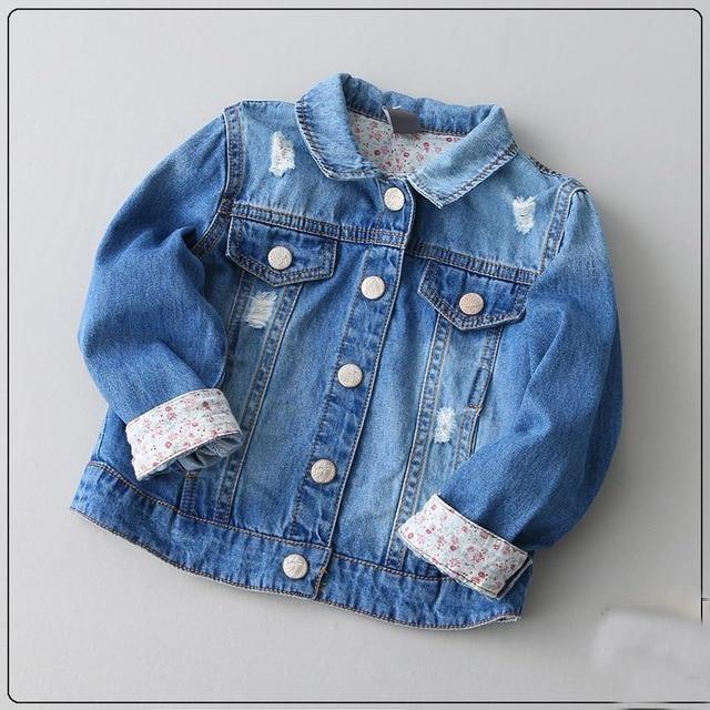 2017 Jaquetas Jeans Meninas Dos Desenhos Animados Imprimir Pockets Primavera Outwears