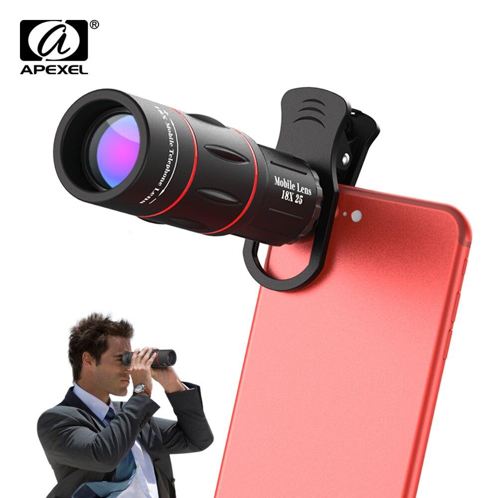 APEXEL Universal 18x25 Monocular HD Zoom Óptico Lente Do Telefone Celular Observando Pesquisa 18X lente telefoto com tripé para smartphones